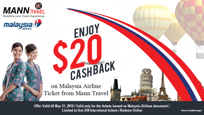 Enjoy $20 cashback on Malaysia Airline ticket