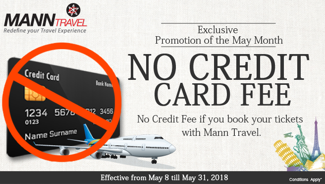 No credit card fee if you book your ticket with manntreval.