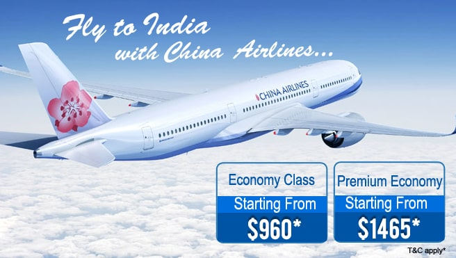 Fly to India with China Airlines