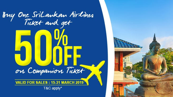 50% Off on Srilankan airline on cmpanion ticket