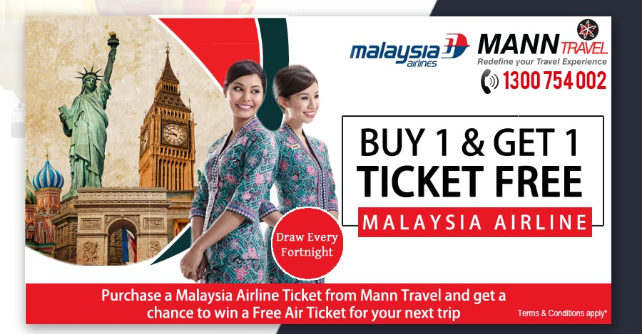 buy 1 get 1 ticket free by manntravel, malaysia airline